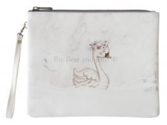 Leather Pouch- Marble Swan White
